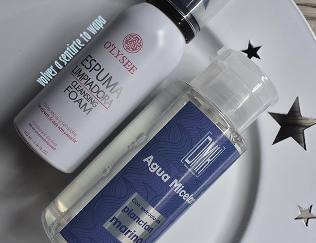 Rutina facial: espuma limpiadora o'lysee de Mercadona y Agua Micelar de Dermakosmetic