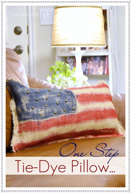 patriotic tie dyed pillow
