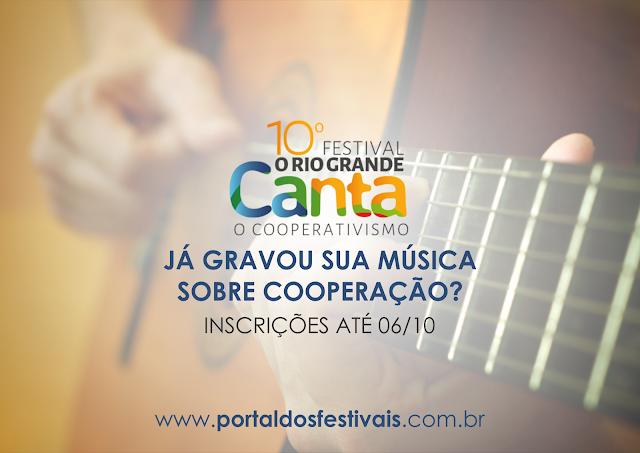 As inscrições para o 10º Festival O Rio Grande Canta o Cooperativismo encerram-se na sexta