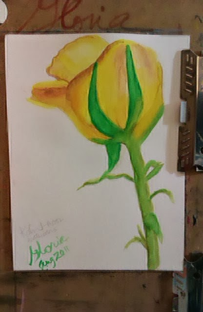 Yellow rose sketch by Gloria Poole of Missouri