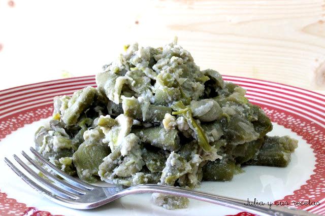 Julia y sus recetas habas con cebolla - Habas frescas con jamon ...