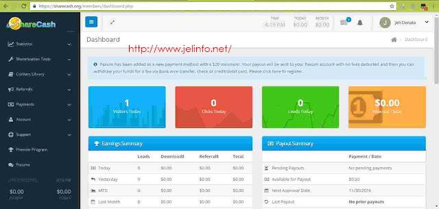 Sukses daftar dan login sharecash