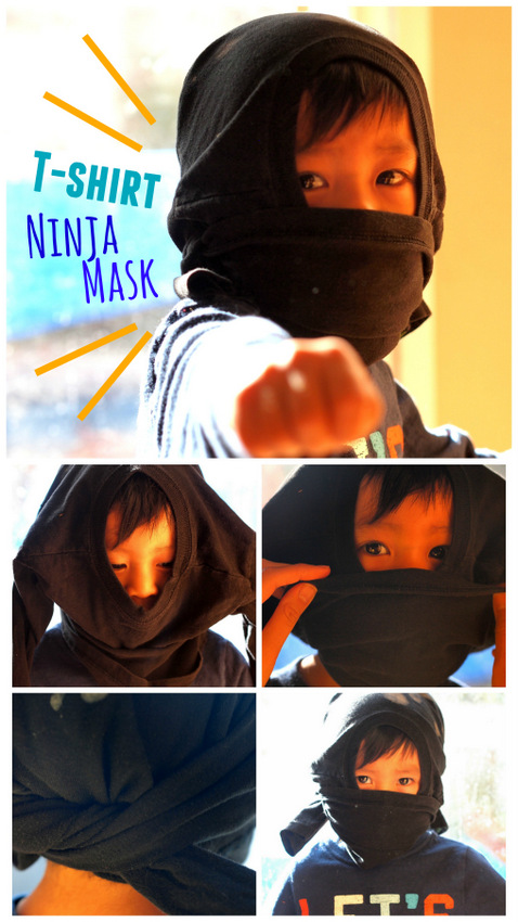 How to make an easy, no-sew ninja mask for kids in under a minute!  (No sewing required and free too!)