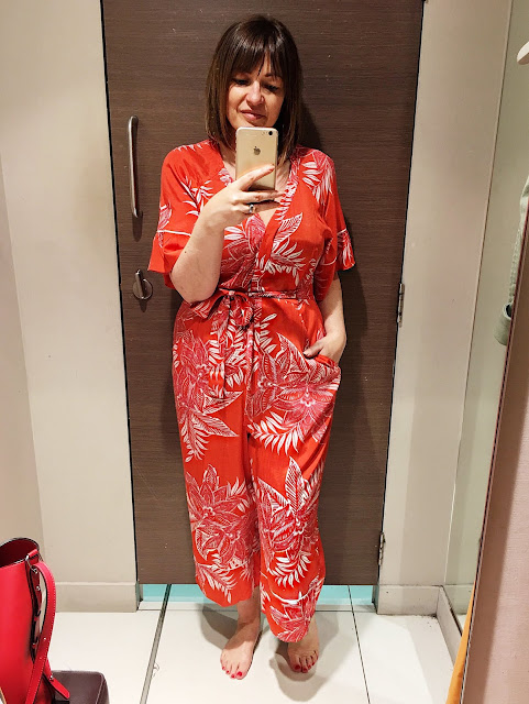 Orange print jumpsuit