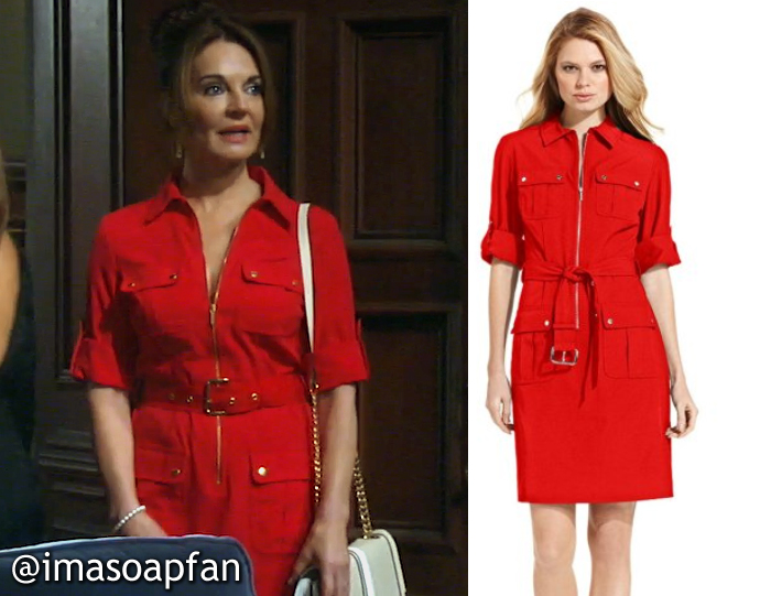 Naomi Dreyfus's Red Utility Shirtdress - General Hospital, Season 54, Episode 08/22/16