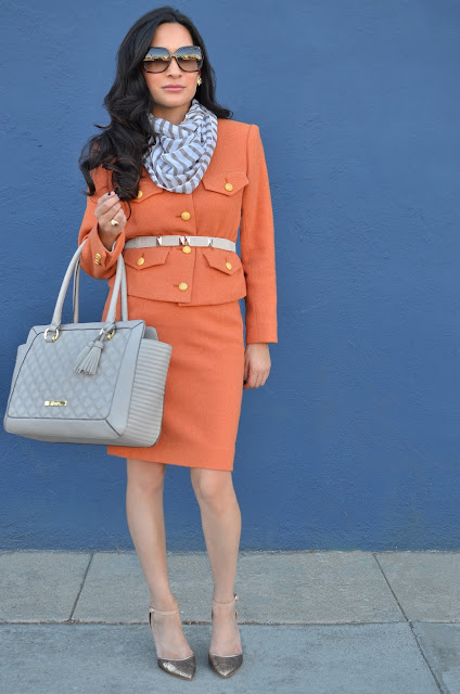 pumpkin spice orange vintage suit, Anne Klein taupe handbag, Enzo Angiolini metallic mesh gold heels, striped tan and white scarf, gold vintage earrings, Gucci sunglasses
