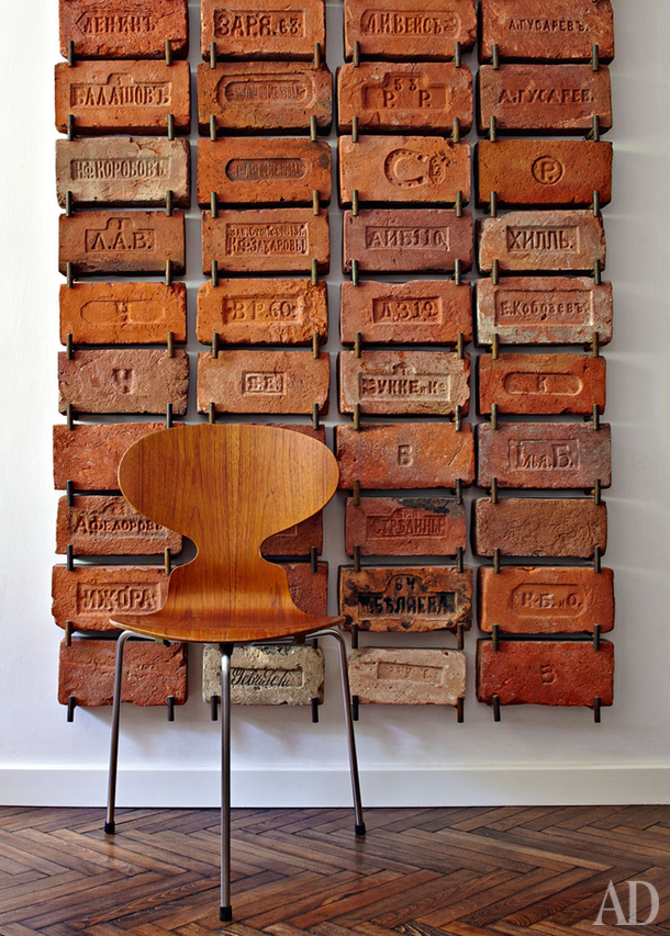 Gallery wall of bricks from AD Magazine #gallerywall #decorating #decoratingideas #andersonandgrant