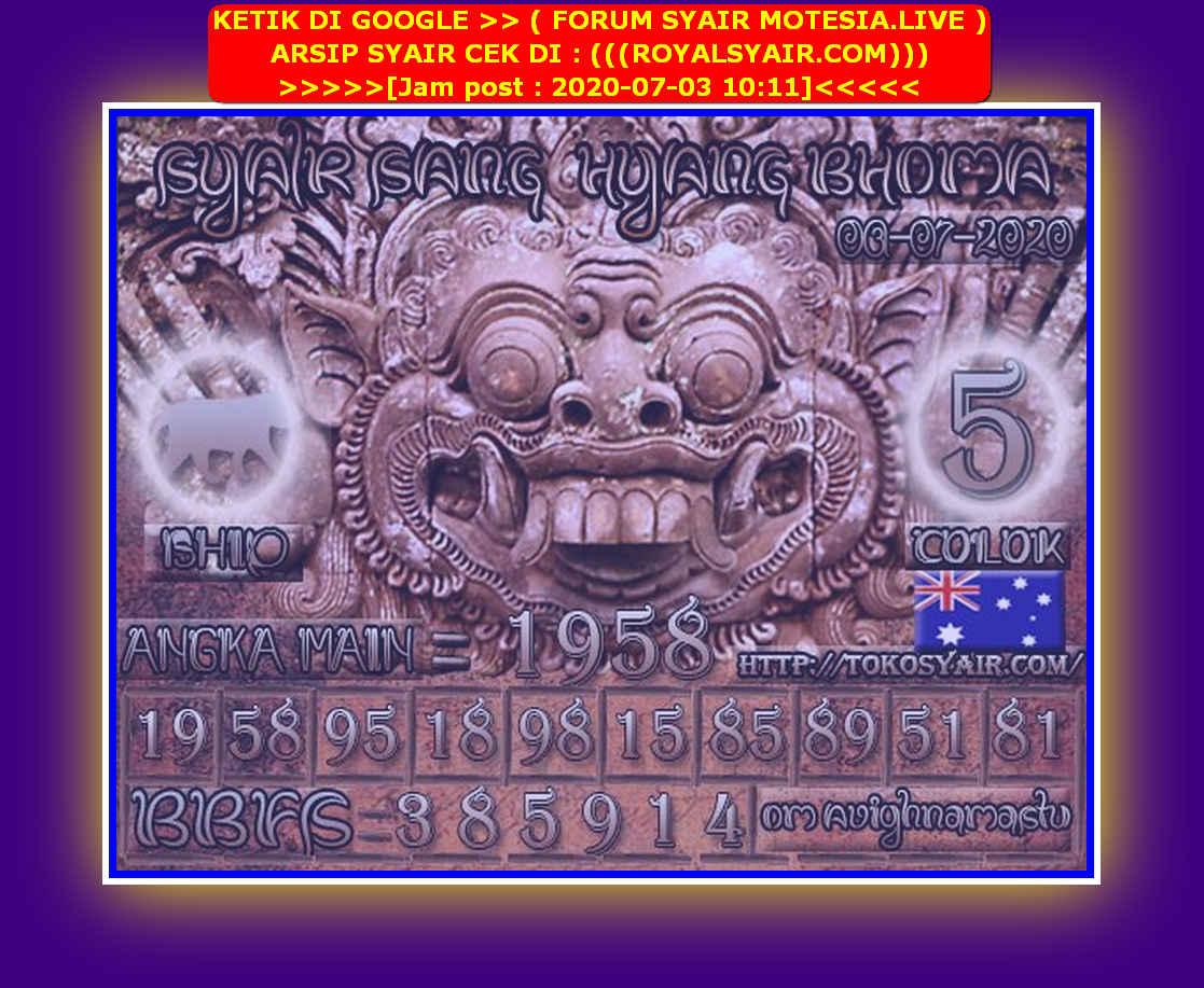 Kode syair Sydney Jumat 3 Juli 2020 127