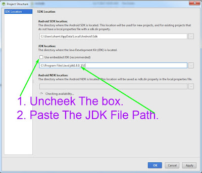 How to configure Android Studio JDK Location.