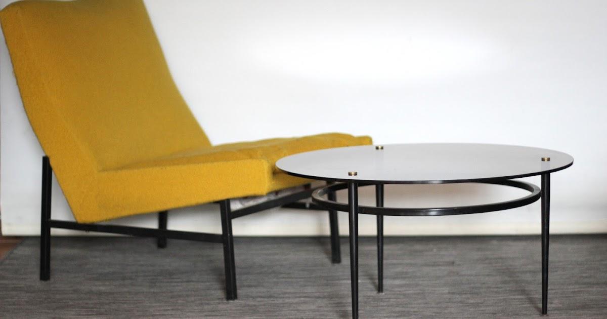 chicbaazar objets vintage 50 60 70 table basse design ronde verre vintage. Black Bedroom Furniture Sets. Home Design Ideas