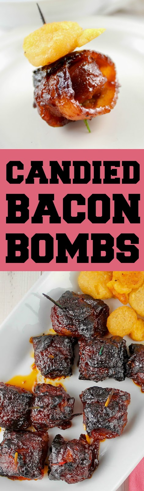 These Candied Bacon Bombs are so delicious! I first had them in Birmingham Alabama and had to come home and recreate them! Kielbasa, bacon, bbq sauce and a secret ingredient ;-) #bacon #baconbomb