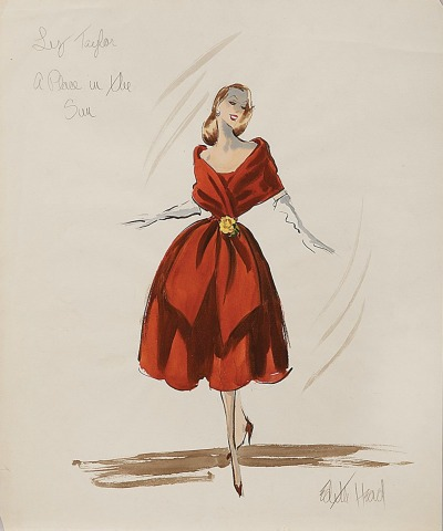 Sketch of Edith Head Costume for Elizabeth Taylor in A Place in the Sun