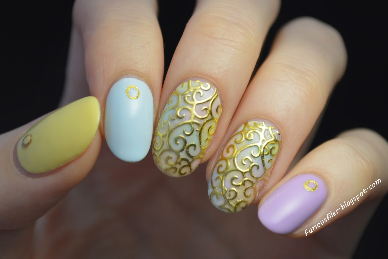 BPS, nail art stickers, gold, spring, pastels