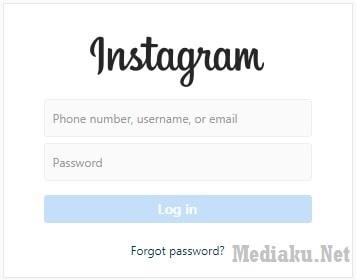Tampilan Login Instagram Komputer