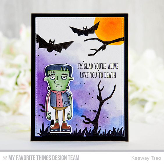 Handmade card from Keeway Tsao featuring Lisa Johnson Designs Spooky Sweets stamp set, Frightful Friends stamp set and Die-namics, and Blueprints 29 Die-namics #mftstamps