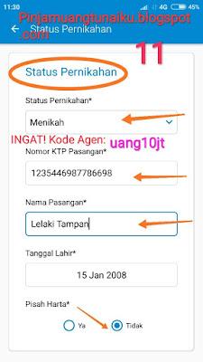 Gambar Langkah 11 Pengisian Data pekerjaan pengajuan pinjaman KTA Aplikasi pinjaman Tunaiku kode agen uang10jt