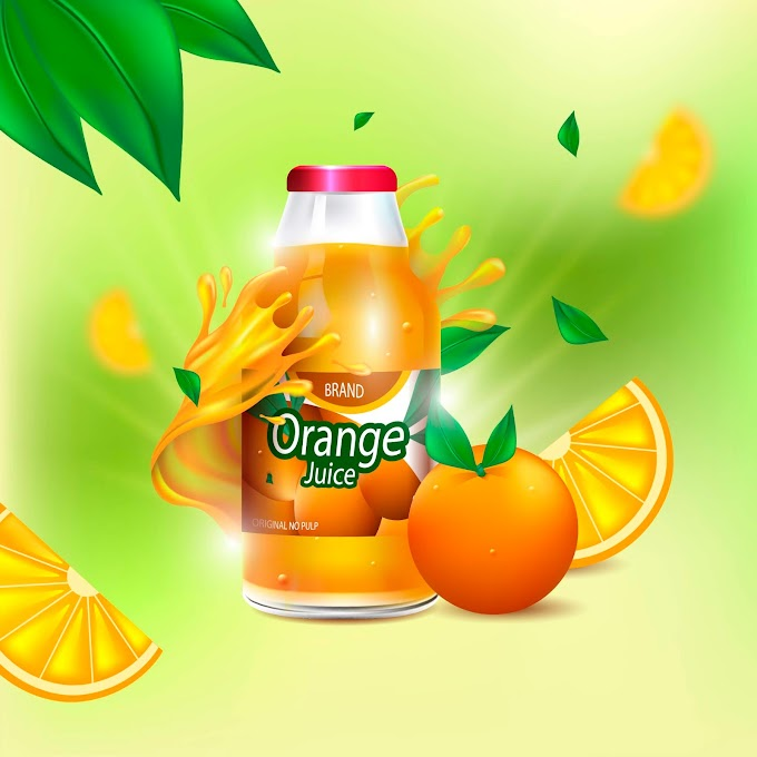 Realistic natural juice ad background Free Vector