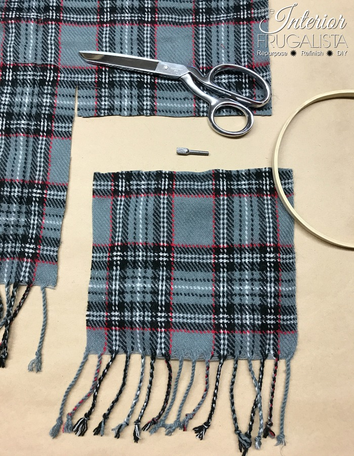 Festive Recycled Plaid Sweater Ornament With Tassels