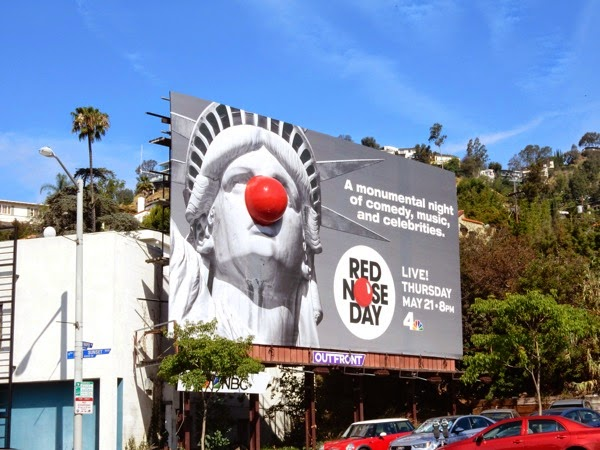 Red Nose Day Statue of Liberty billboard
