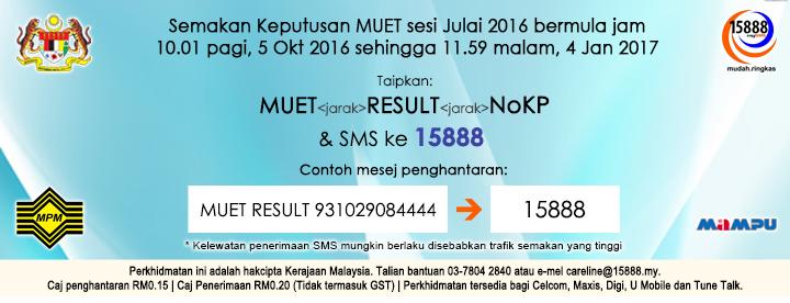 Semakan MUET Julai 2016 Online dan sms