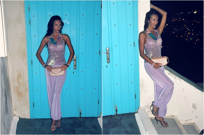 lilac sequined top lilac harem pants lilac sandals