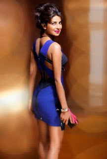 Hot Priyanka Chopra in Blue Minidress