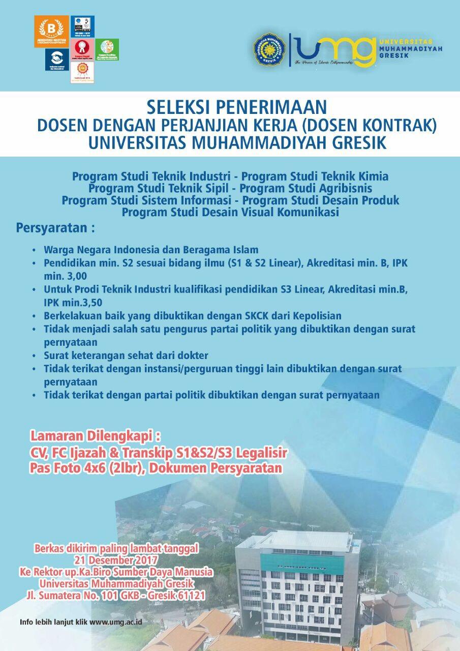 Lowongan Penerimaan Dosen Kontrak Universitas Muhammadiyah Gresik (UMG)