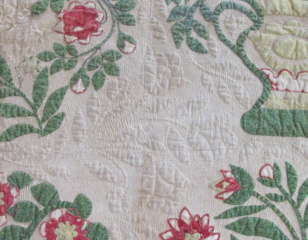 Baltimore garden quilts: hand quilting vs. machine quilting