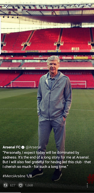 Ars?ne Wenger says farewell to Arsenal fans. See his tweets!