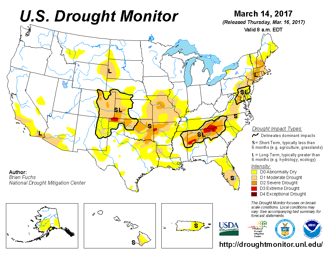 look at the map of improvement of the drought across parts of high plains of kansas the missouri