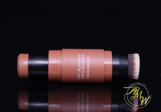 a photo of missha soft blending stick blusher in mud brown