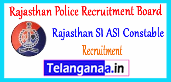 Rajasthan SI ASI Constable Recruitment 2017-18 Application