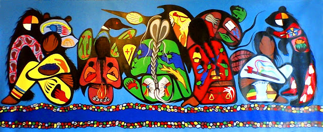 Simone McLeod painting Minjimemendamowin