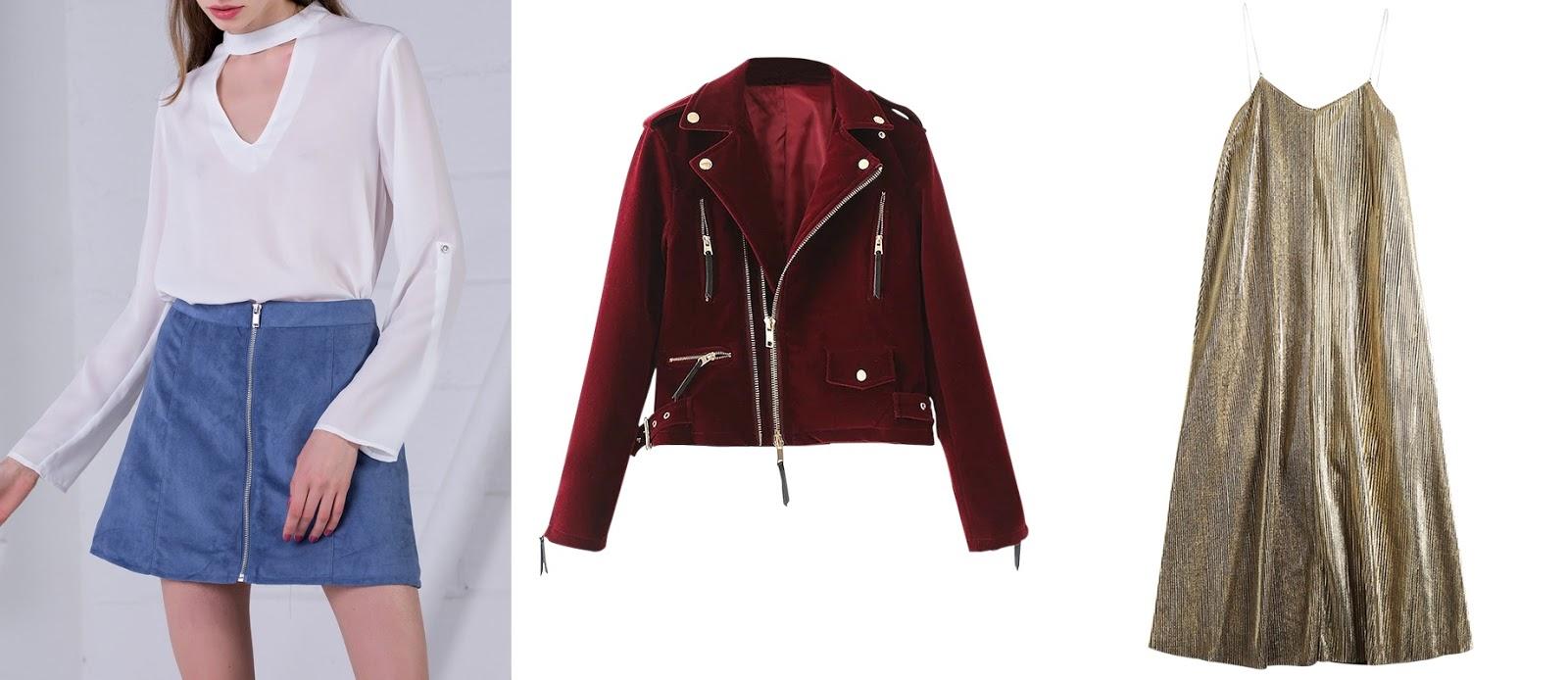 zaful - online fashion store, chiffon blouse, velvet biker jacket, glittered midi dress, wishlist
