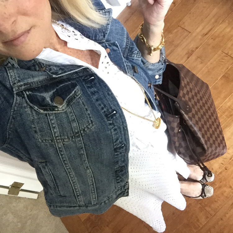 white lace dress with jean jacket