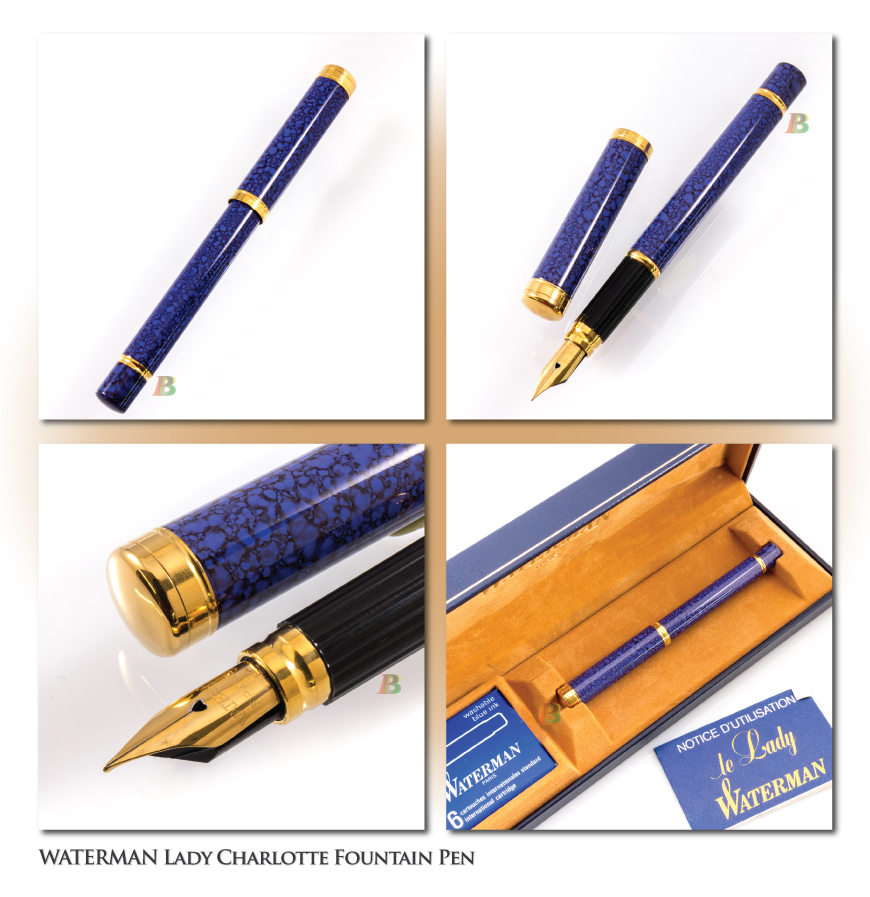 Blue//Marble Waterman PHILEAS FP nice M nib GT converter LOOK box
