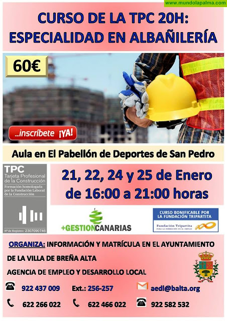 Curso de la TPC 20h: Especialidad en Albañilería
