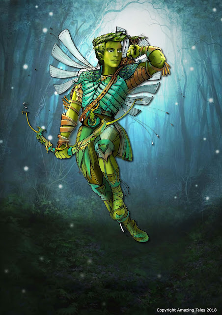 A winged archer in a sparkling wood