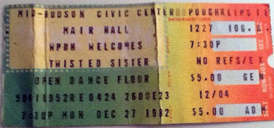 Twisted Sister ticket stub from December 27, 1982 for the Mid-Hudson Civic Center