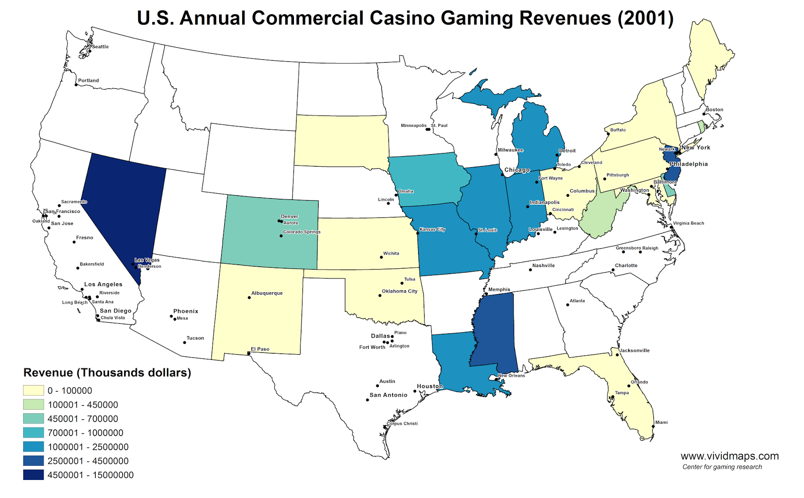 U.S. Annual Commercial Casino Gaming Revenues (2001)