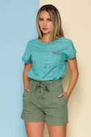 Tricou Dana bleu cu perforatii