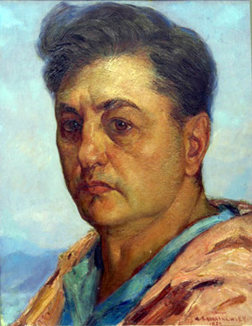 Abel George Warshawsky,  Self Portrait, Portraits of Painters, George Warshawsky, Fine arts, Portraits of painters blog, Paintings of Abel George Warshawsky, Painter Abel George Warshawsky