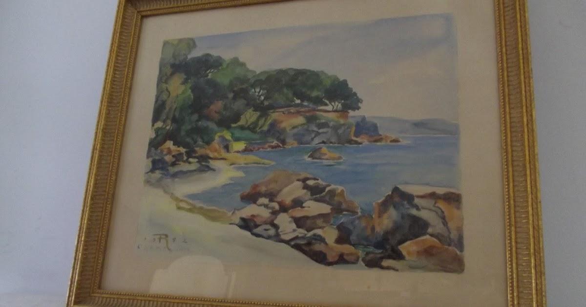 ancien tableau peinture proven ale bord de mer plage aquarelle encadr. Black Bedroom Furniture Sets. Home Design Ideas