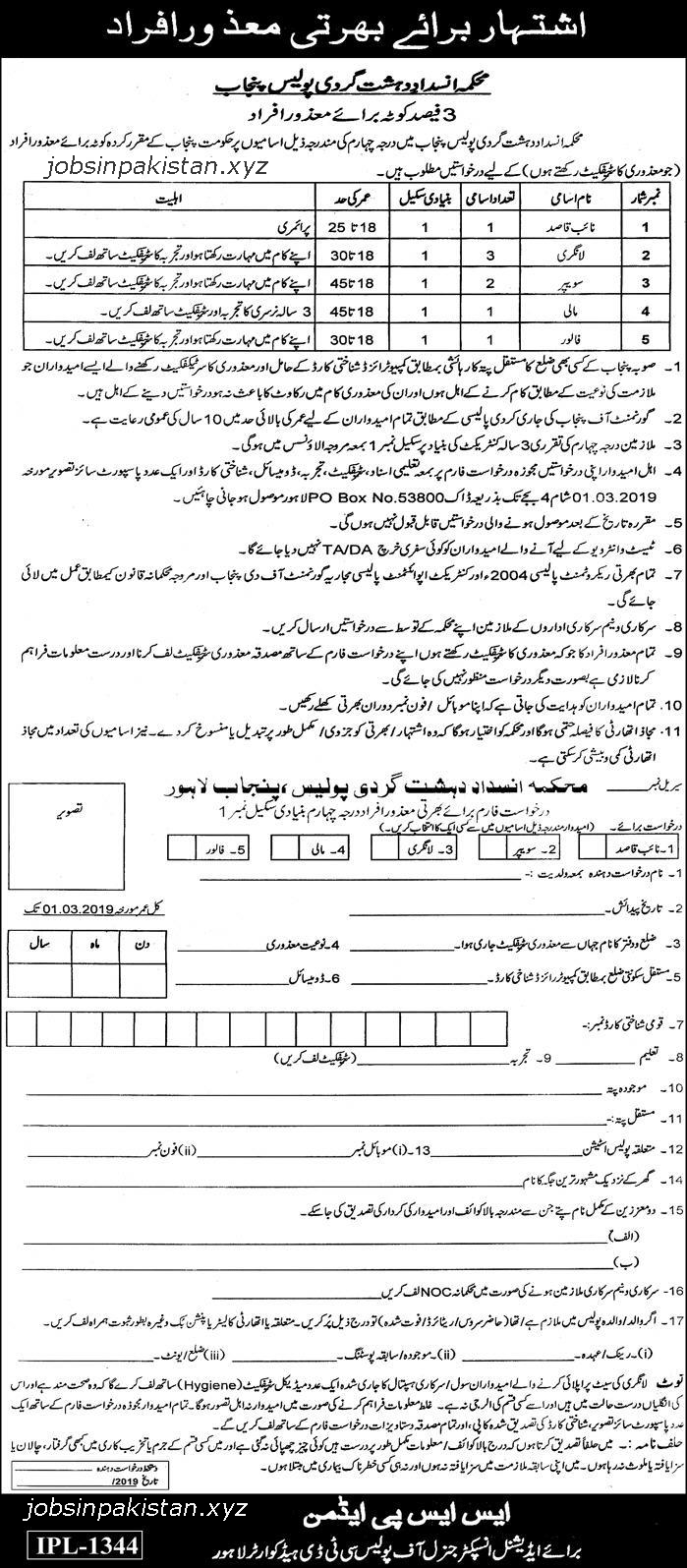 Advertisement for Punjab Police Jobs February 2019
