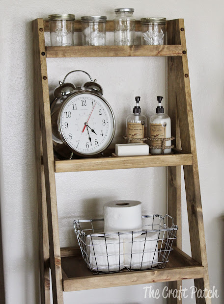 Weathered Wood Ladder Shelf