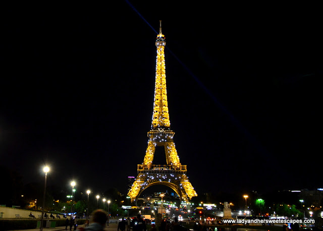 Eiffel Tower sparkles at night