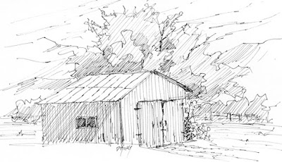 art sketch pen ink barn rural tree shed