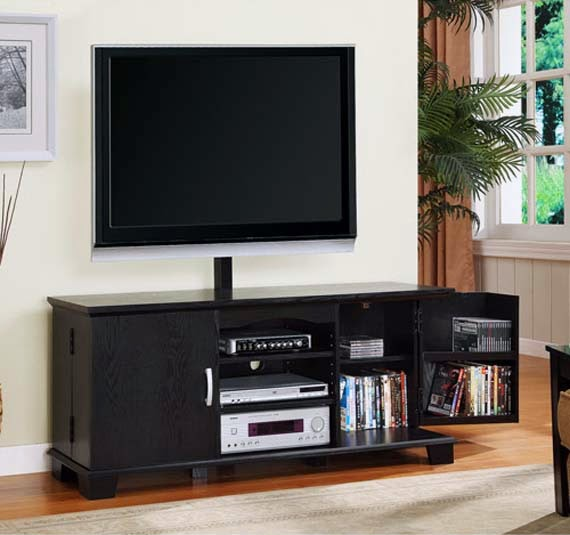 Walker Edison Black Wood TV Stand with Mount and Storage picture