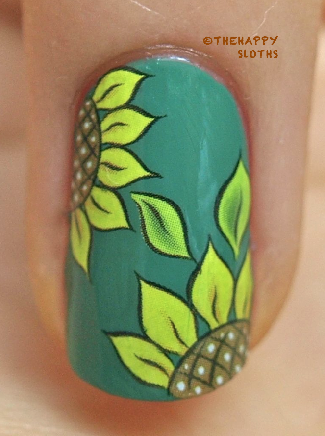 Sunflower Nails: Manicure Featuring Sunflower Water Decal ...