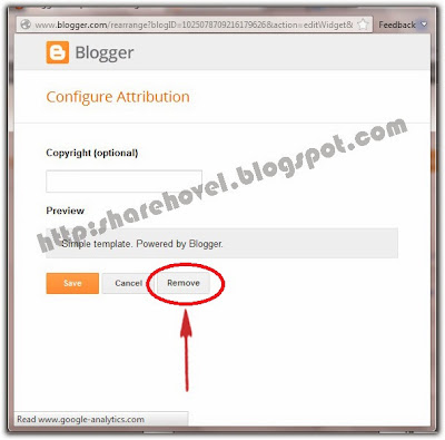 Cara Menghilangkan Tulisan Powered by Blogger by sharehovel